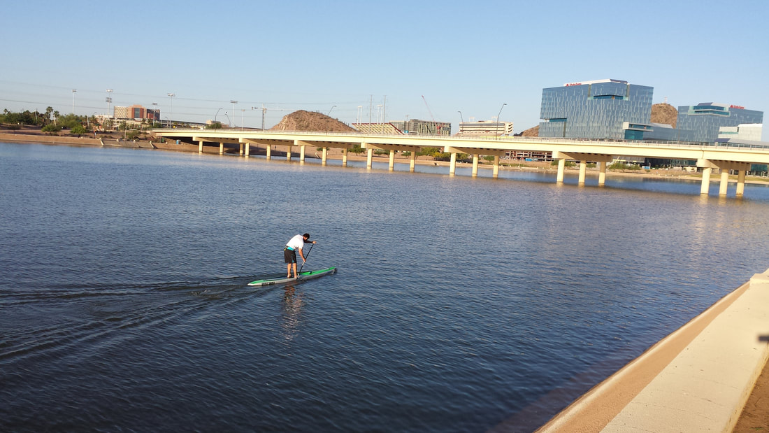 Sup paddle board at tempe town lake for Tempe town lake fishing